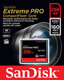 SanDisk Extreme Pro 256 GB 160 MB/s CompactFlash Memory Card - Black/Gold/Red