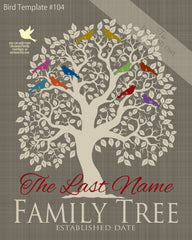 Family Tree Birds 1-10 Template 104
