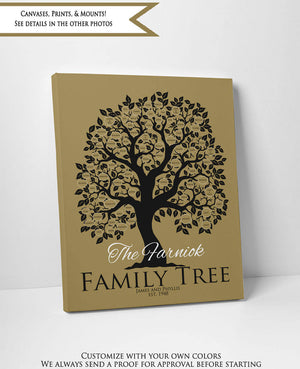 Large Family Tree Wall Art, 50th Anniversary Gifts for Parents, Personalized Custom Print Golden Grandparent Christmas Gift, Illustration