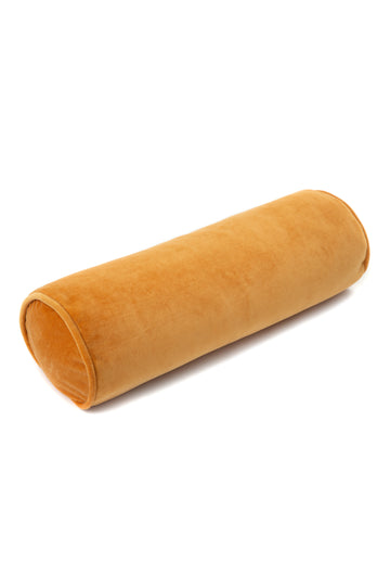 Roll cushion velvet mustard