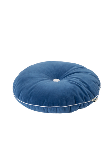 deep blue button cushion