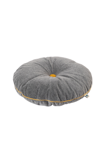 grey button cushion