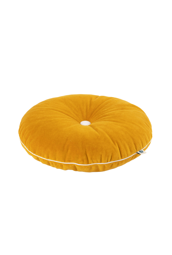 mustard button cushion