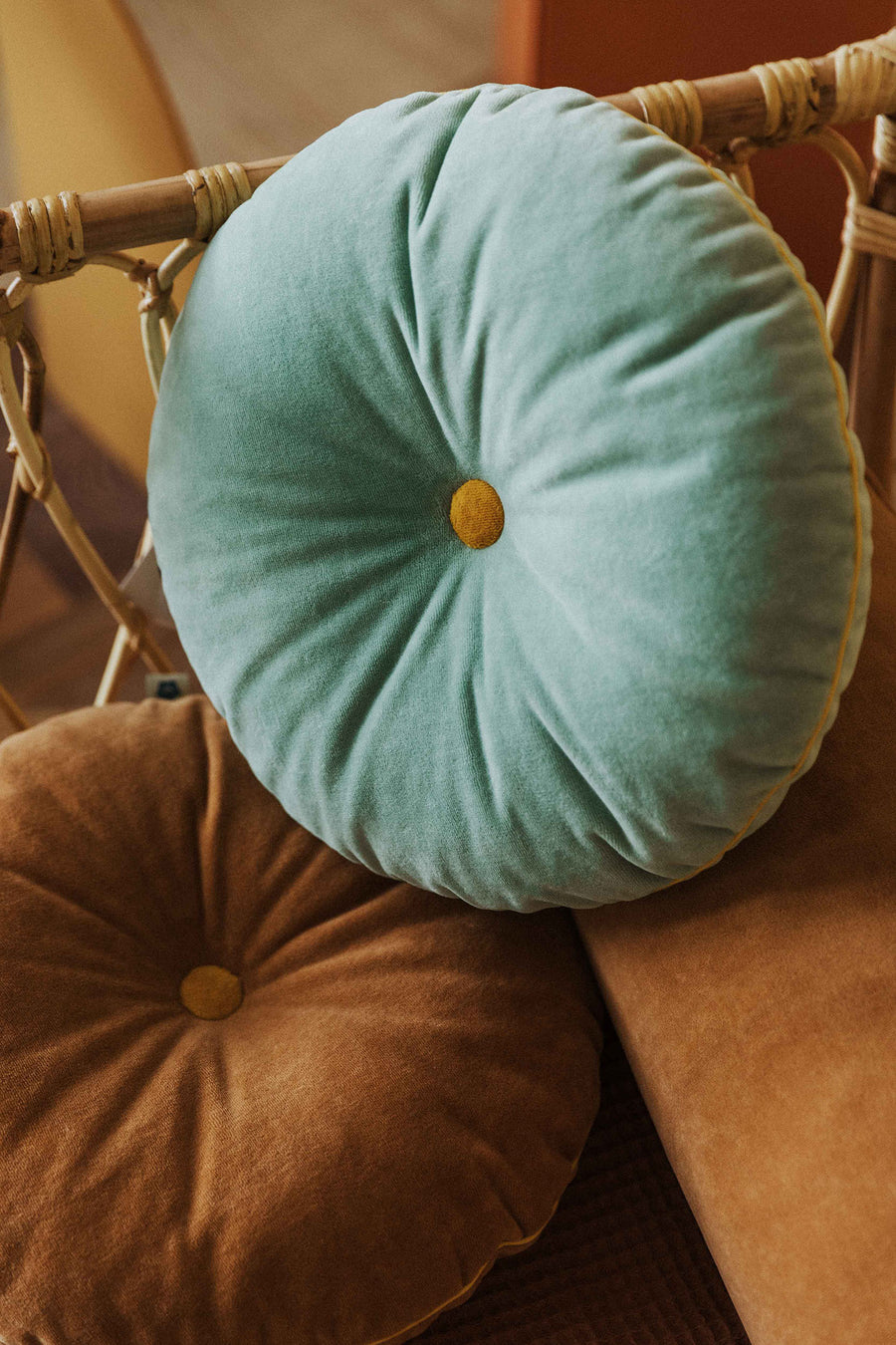 Caramel Button Cushion