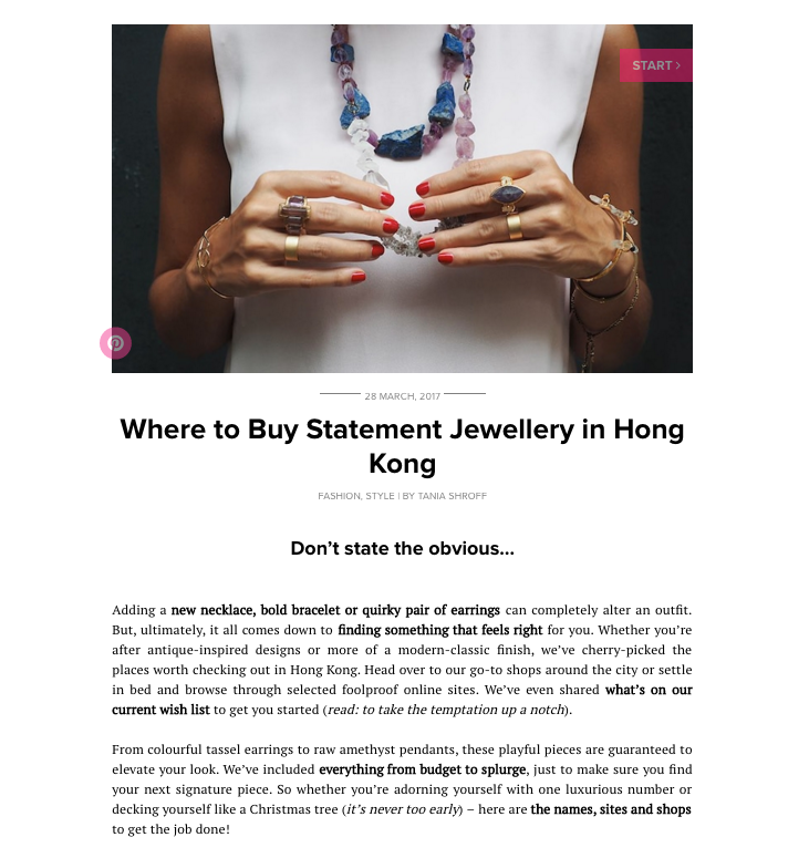 Callixto in Sassy Hong Kong: Where to Buy Statement Jewellery in Hong Kong