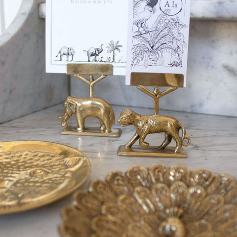 This golden brass leopard card holder for you to put your photos and festive cards