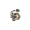 sliver gold plated gun ring with blue tourmaline stone made in india