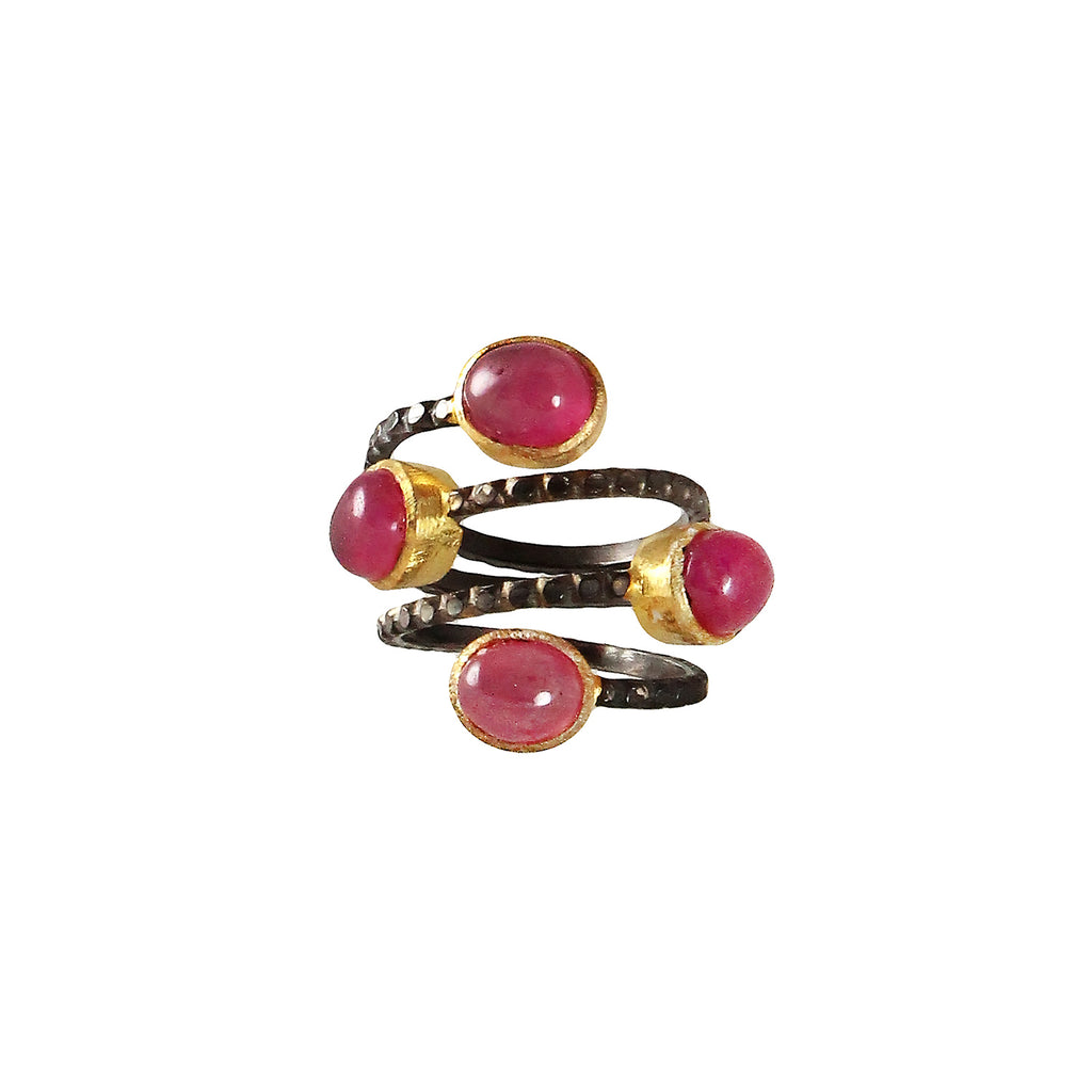 sliver gold plated gun ring with red ruby tourmaline stone made in india