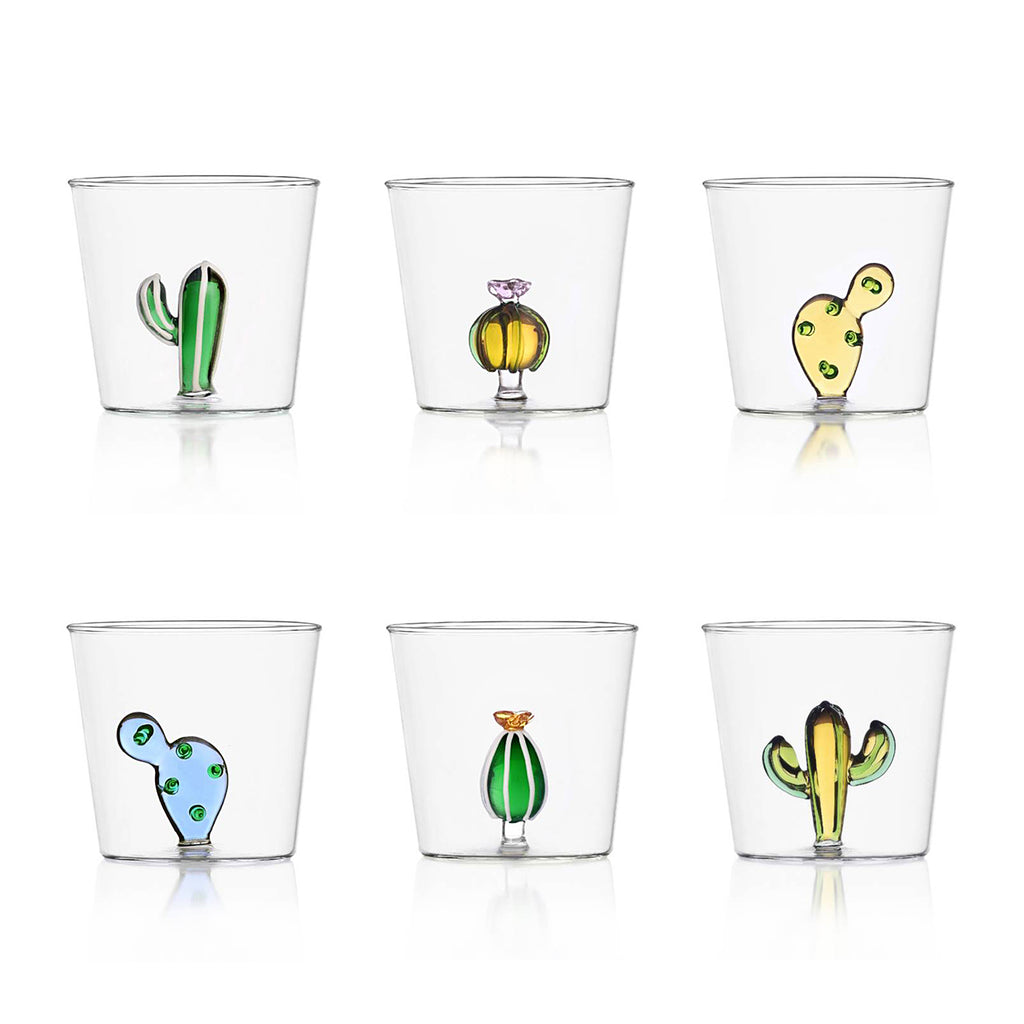 Desert Plants glasses cup set in 6 differnt shapes of colourful cactus