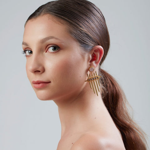 Unusual gold plated statement earrings from Bohème, a brand now based in Singapore, made in india