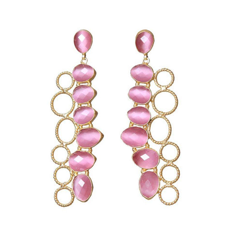 Timeless elegant pair of pink agate Earrings from Bohème, a brand now based in Singapore. Have the ability to make any outfit sparkle.