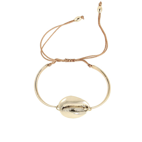 large gold plated shell bangle bracelet