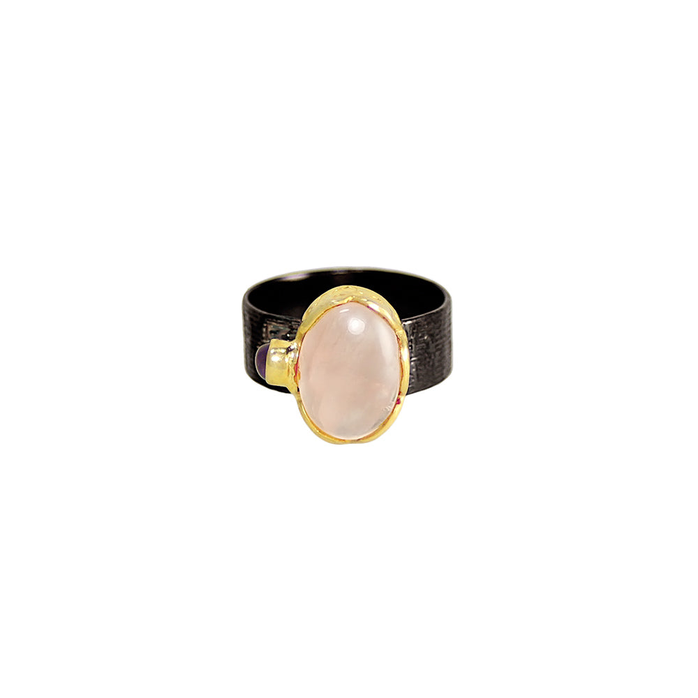 sliver gold plated gun finish ring with rose quartz and purple amethyst stone