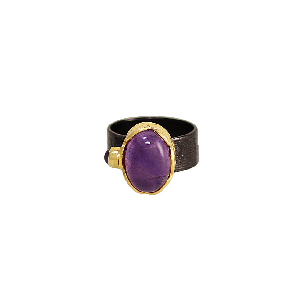 sliver gold plated gun finish ring with purple amethyst and purple amethyst stone from india