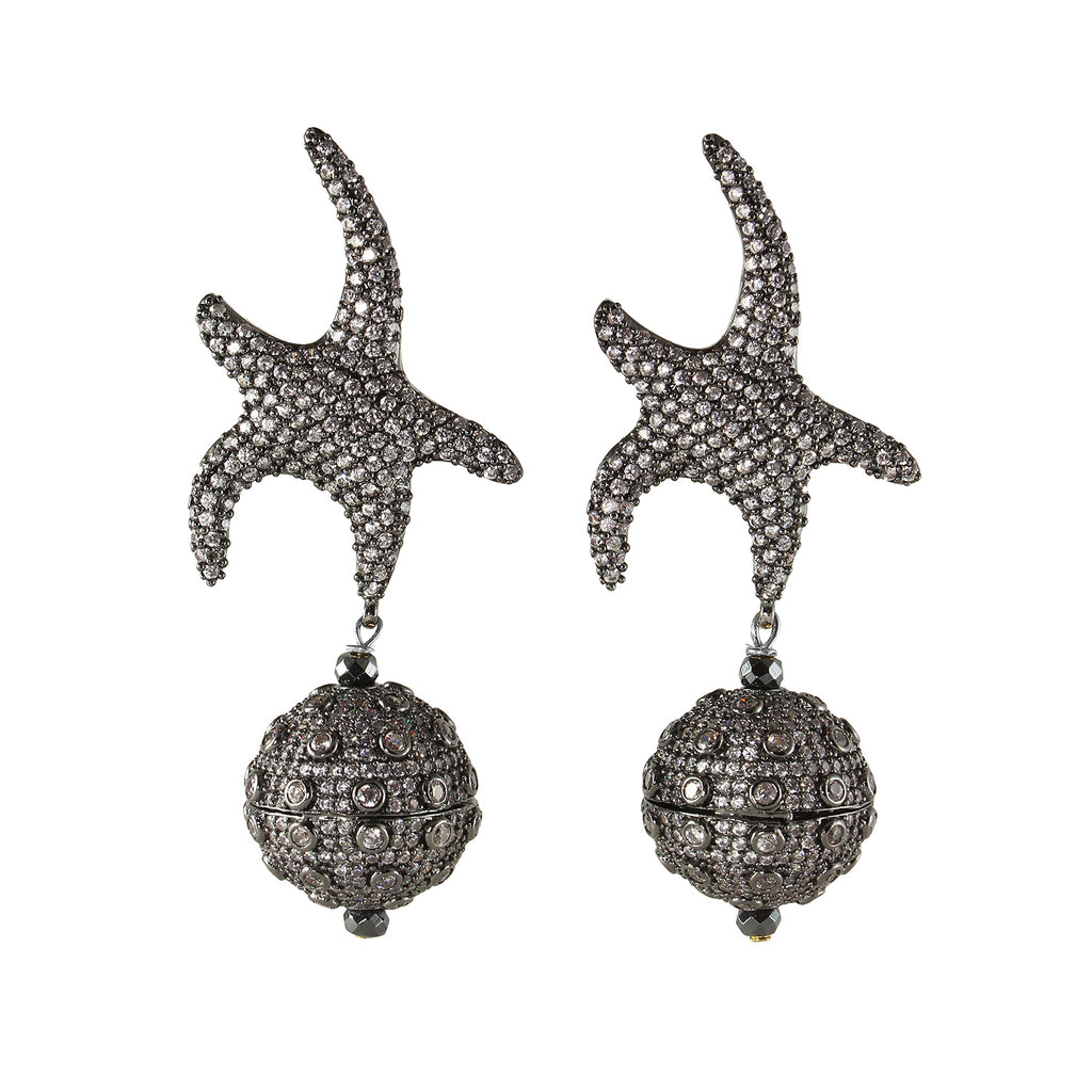 sliver star fish earrings with sliver balls with white cubic zircon stone made in turkey
