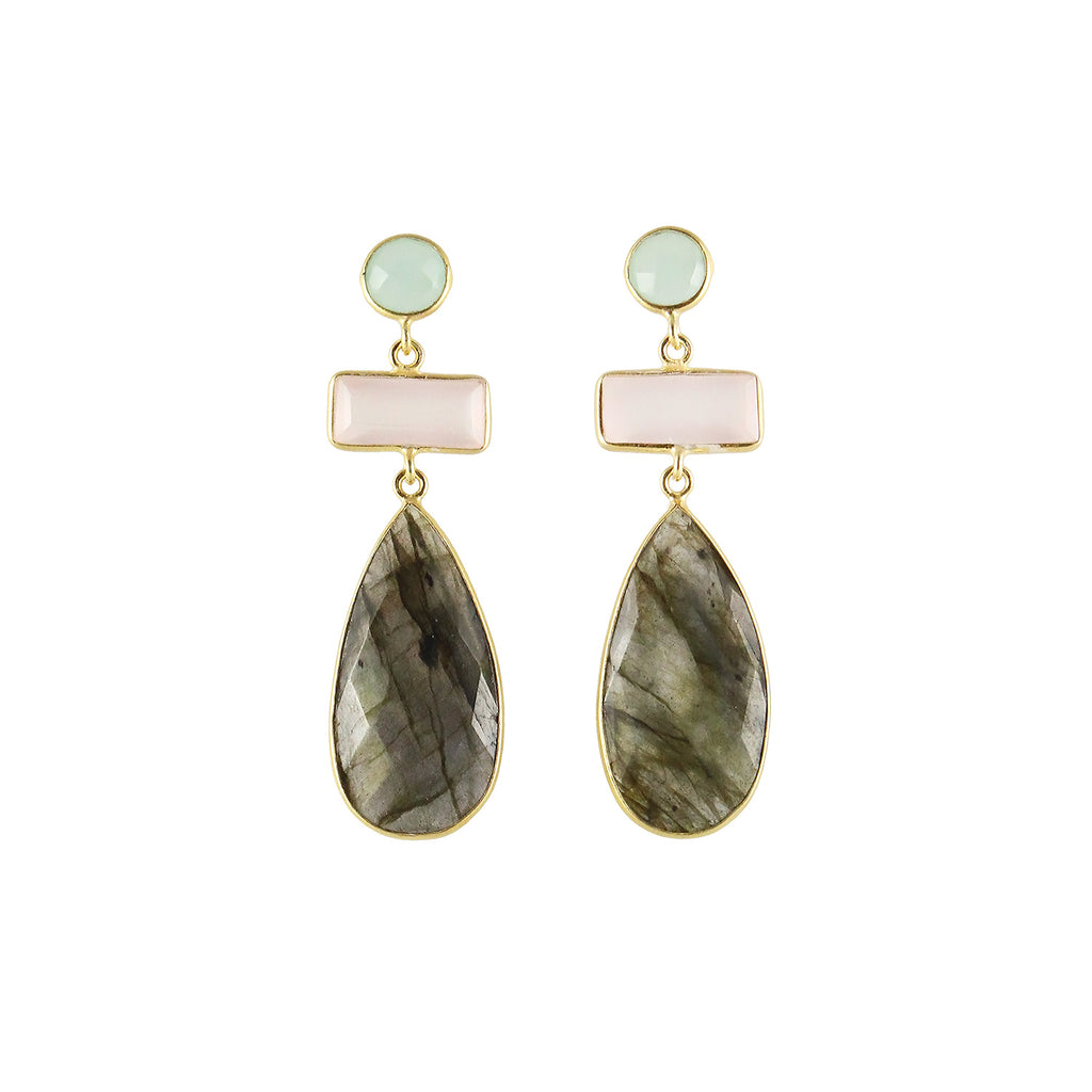 sliver gold plated earrings with chalceony, rose quartz and labradorite colour stones from india