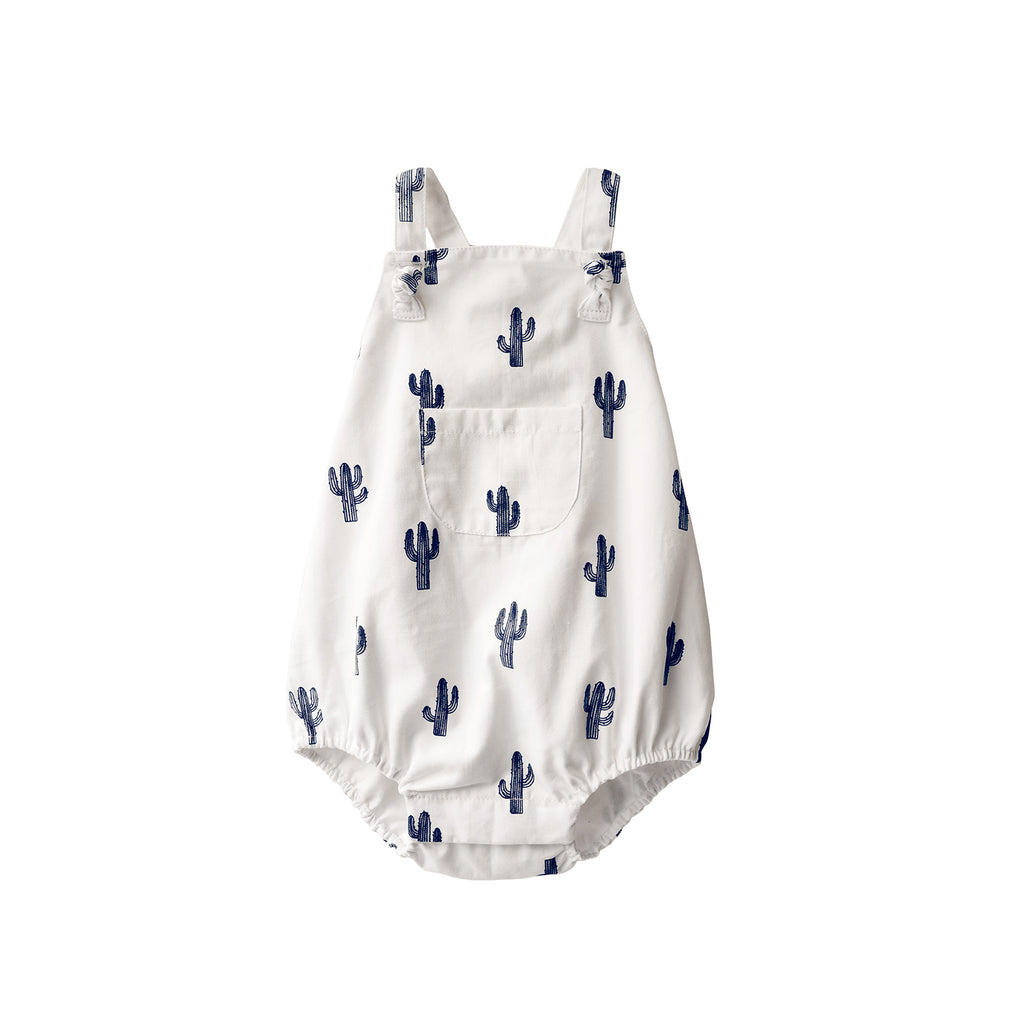 The most adorable baby romper with cute a little block printed cactus print.