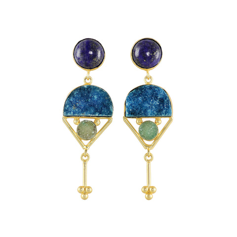 Statement earrings with lots of standout colours.  Sodalite and druzies set against each other on gorgeous juxtaposition.