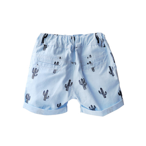 The cutest little boy bermuda shorts with a block printed cactus print.