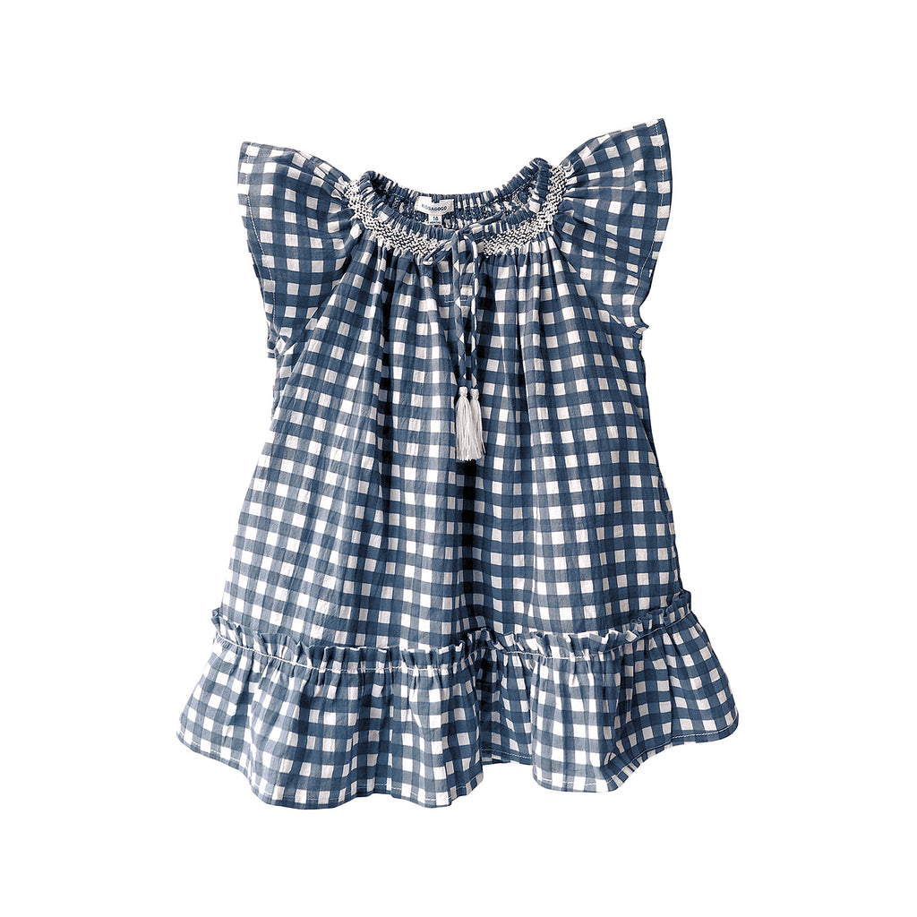 A pretty little dress in blue check with pink detailing. Perfect for those hot summer days.