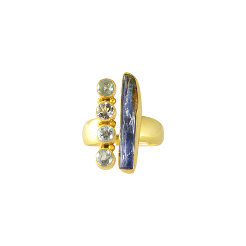 Golden Ring made in India with raw chalcedony and aquamarines in blue