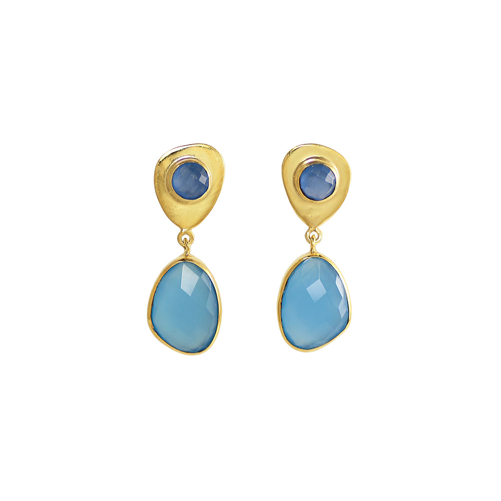 sliver gold plated earrings with blue chalcedony stone made in india