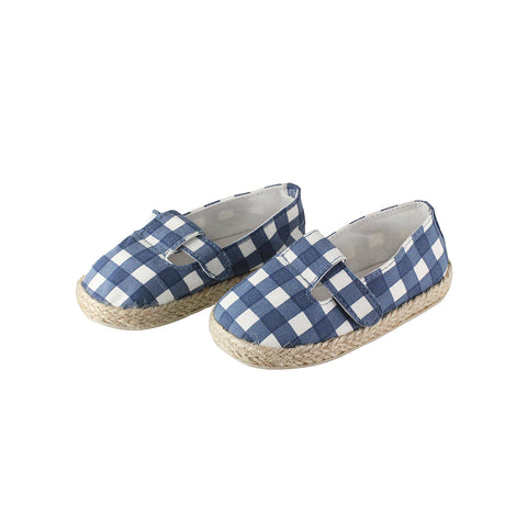 The best summer shoes for kids out there.  Mini espadrilles in a blue check print.