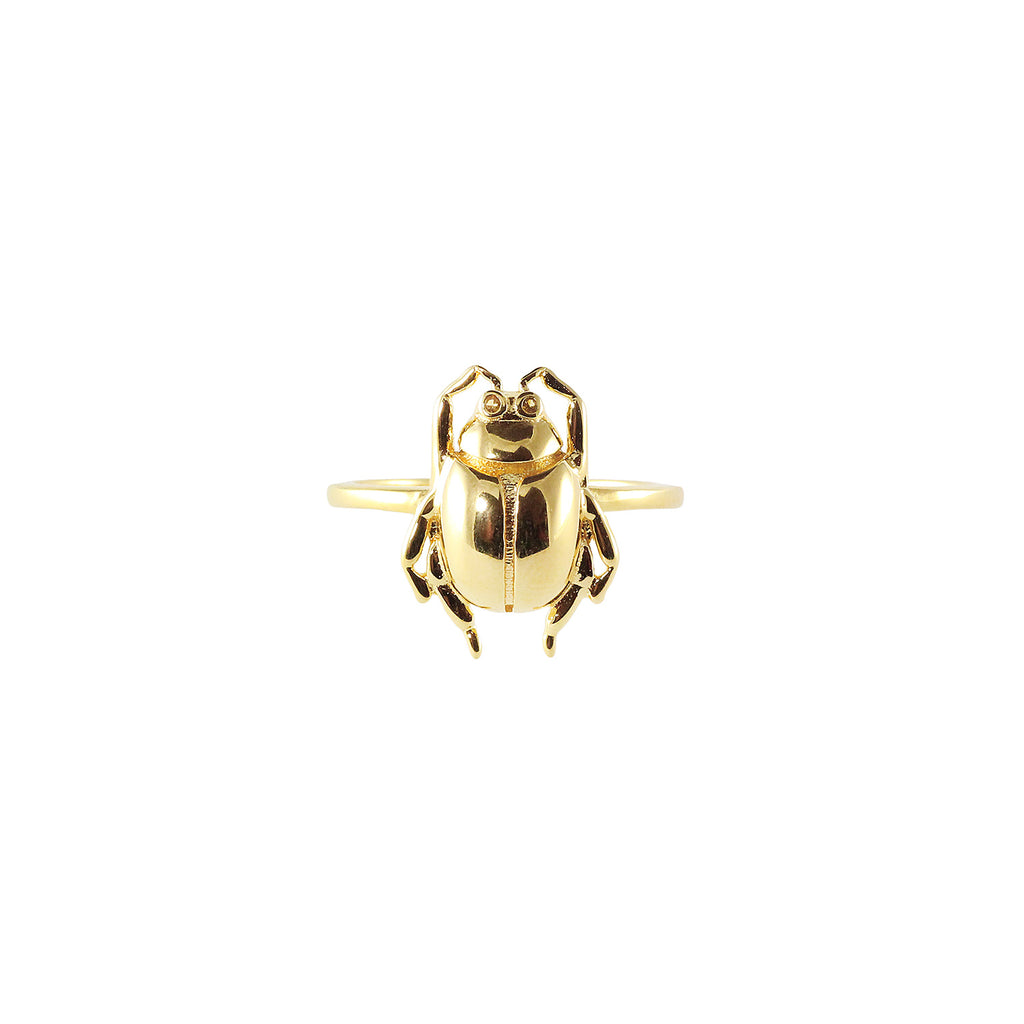Plain gold plated beetle ring with yellow crystal stone
