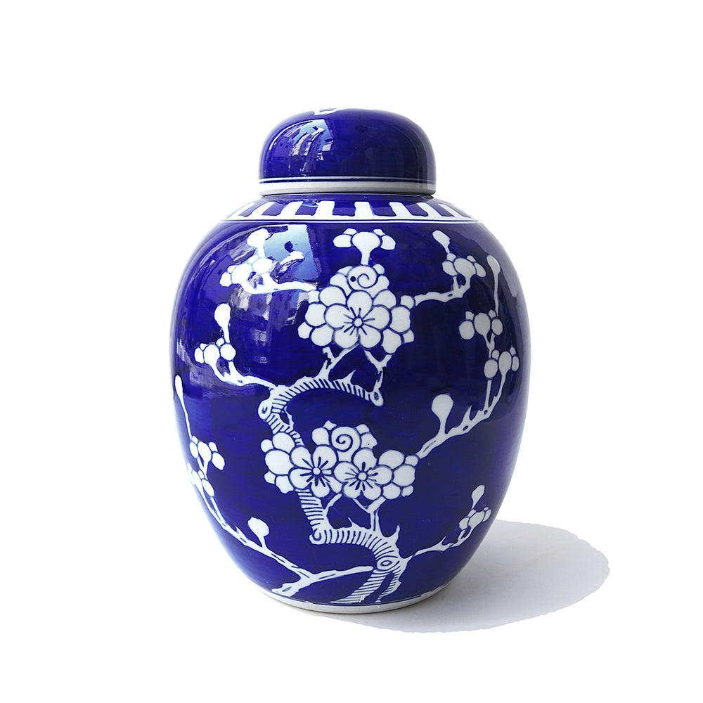 Chinese hand made round ceramic blue cherry blossom Ginger Jar and vase
