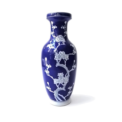 Chinese hand made ceramic blue cherry blossom Ginger Jar and vase