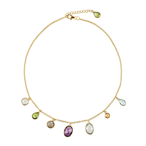 A delicate necklace with semi-precious stones set as little drops to bring colour and joy.  The stones are citrine, peridot, labradorite, amethyst, rock crystal, blue topaz.