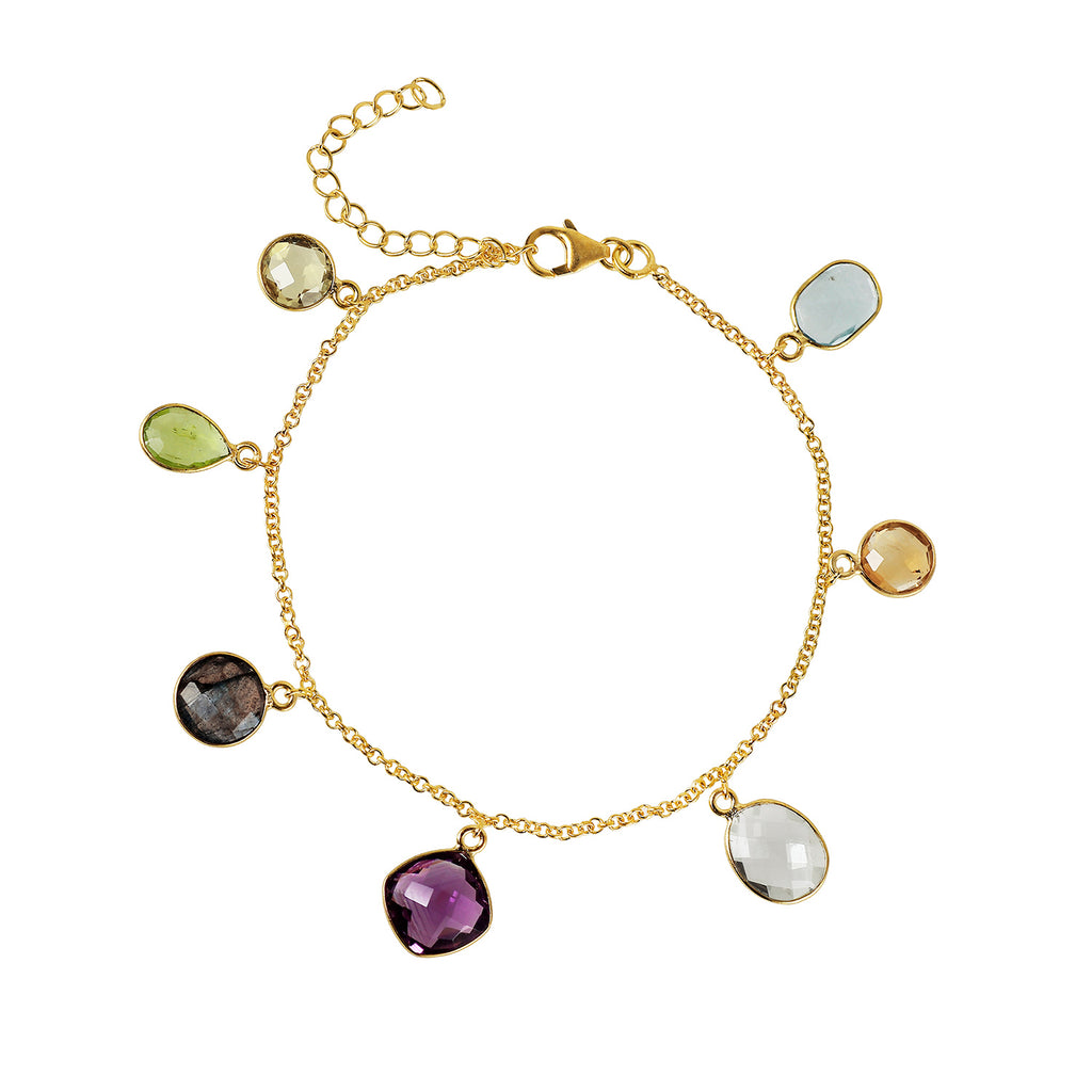 A delicate bracelet with coloured stones set as little charms all around.  A great gift.  The stones are citrine, peridot, labradorite, amethyst, blue topaz, rock crystal.