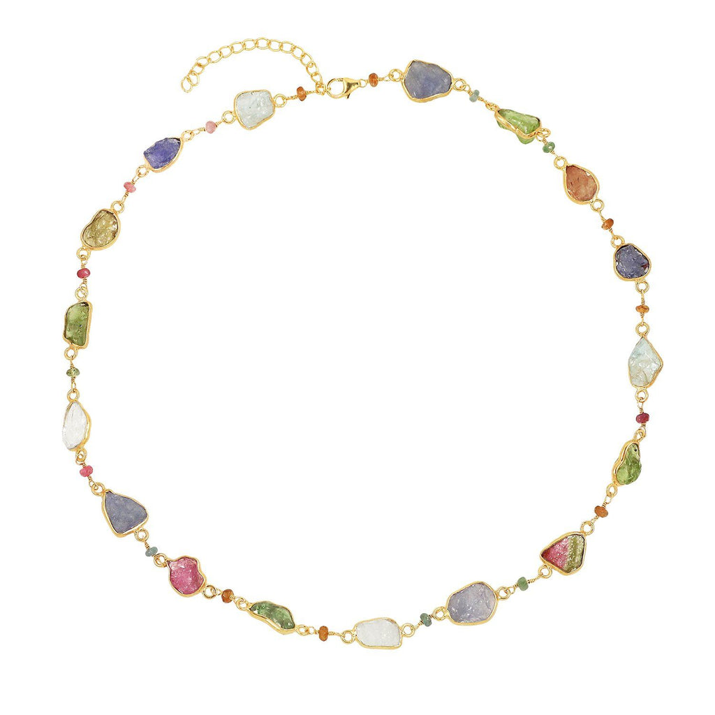 Silver gold plated necklace with colourful amethyst, citrine, peridot, blue topaz and rock crystal, made in India