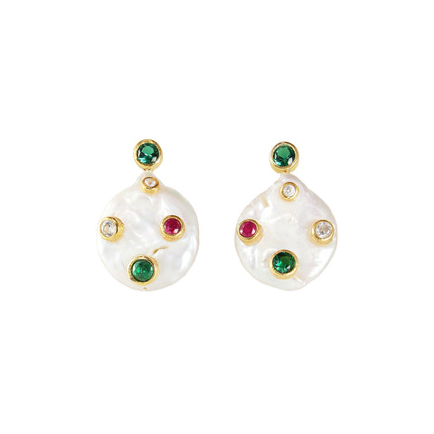 sliver gold plated pearl earrings with green onyx red onyx and white cubic zircon from turkey