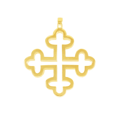 Golden Brass cross pendant with 18 cart gold plated, leather straps and keeper provided for necklace making.