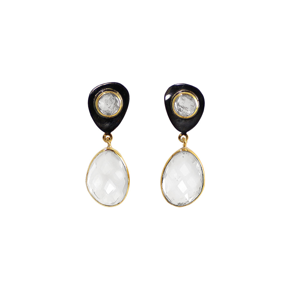 gun finish sliver gold plated earrings with white rock crystal stone made in india