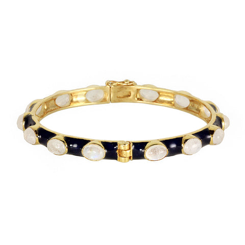 Blue enamel silver gold plated bracelet bangle with moonstones, made in Indian