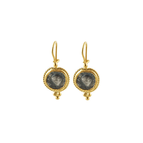 A 22 karat gold earrings framing a replica byzantine coin will add some history to your life.
