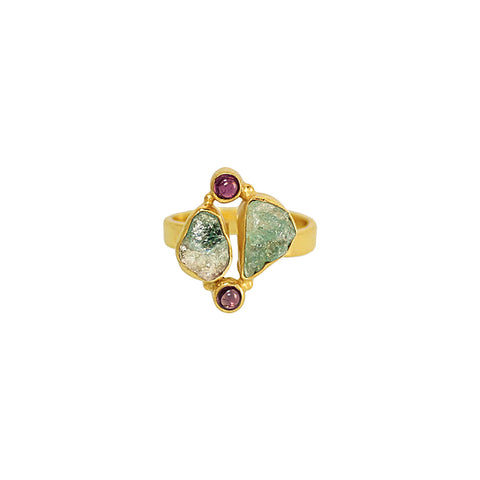 sliver gold plated ring with red green raw aquamarine and tourmaline stone from india