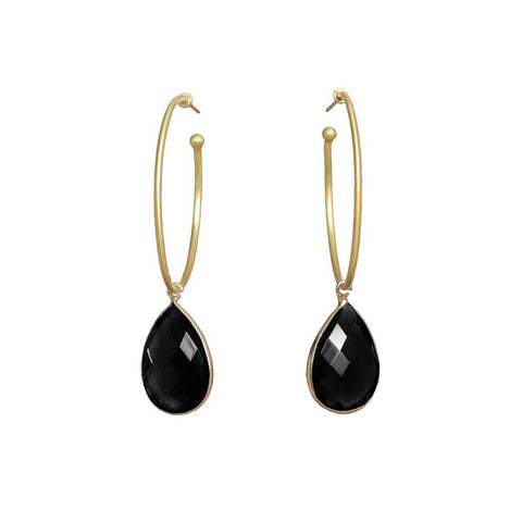 Simple yet unique black onyx drop earrings from Bohème, a brand now based in Singapore.