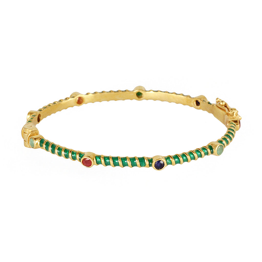 Silver gold plated with green enamel bracelet bangle together with semi precious stones made in India