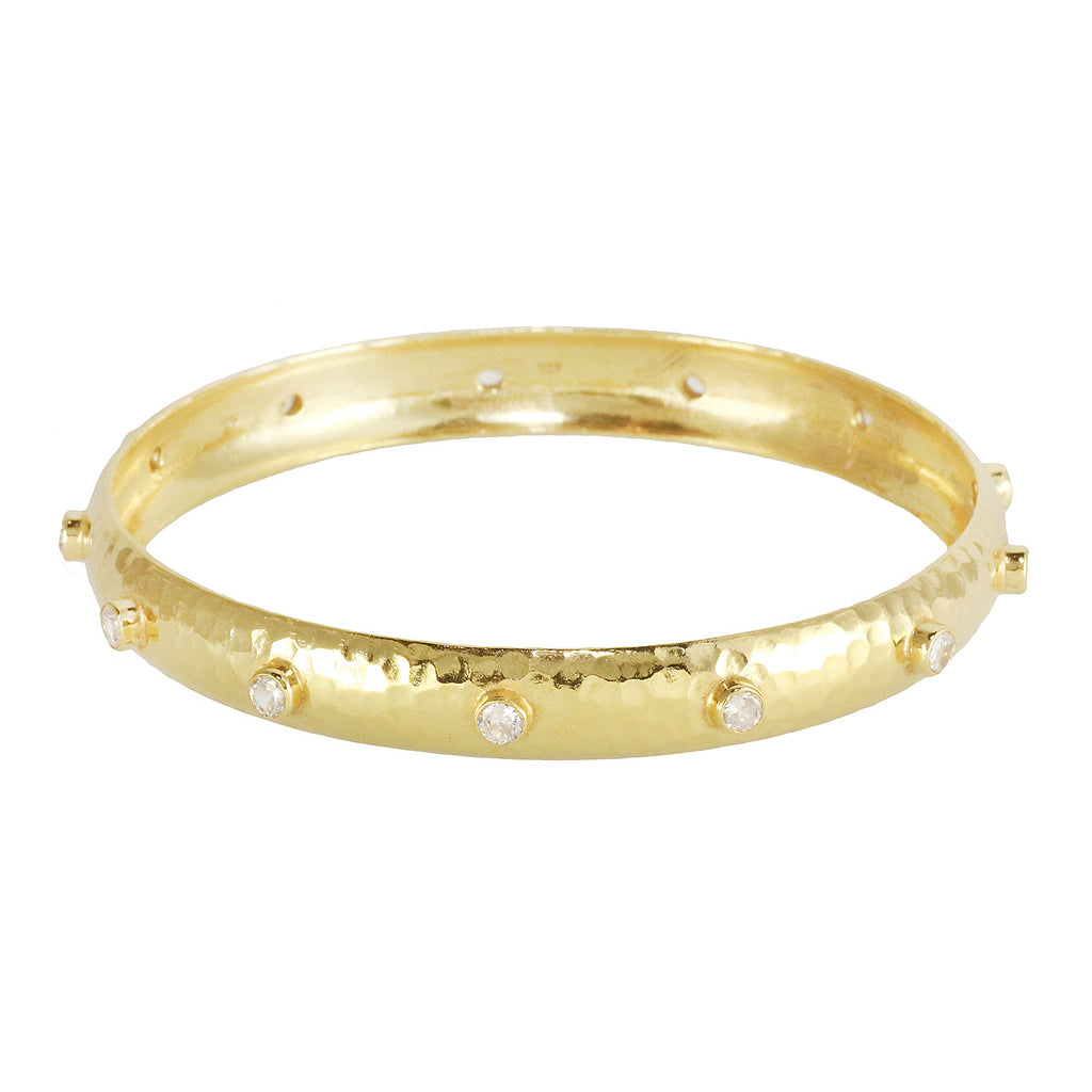 Classic silver gold plated bracelet bangle with white topas stones, made in India