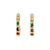 Silver gold plated earrings with 9 colourful stones, moonstone, citrine, green onyx, lapis, rubellite, white topaz, pearl and coral, made in India