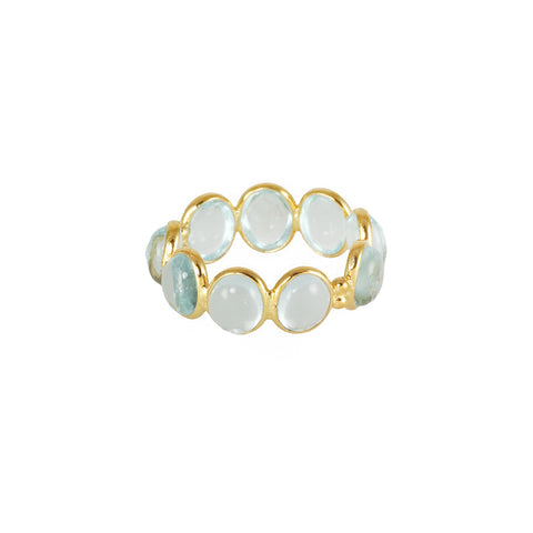 Silver gold plated ring with blue aquamarine stones