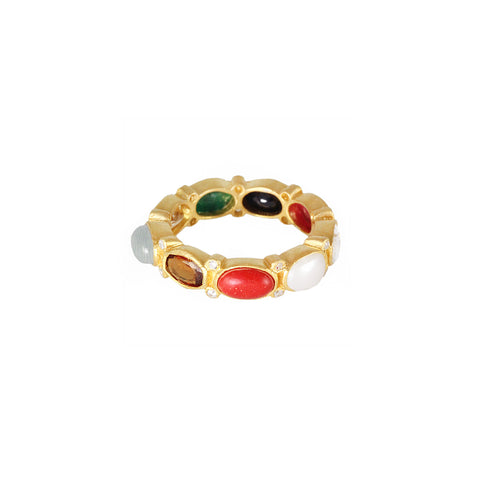 Sliver gold plated ring with white topaz, rubellite, kyanite, green onyx, citrine, moonstone, smokey topaz, coral and pearl, made in india
