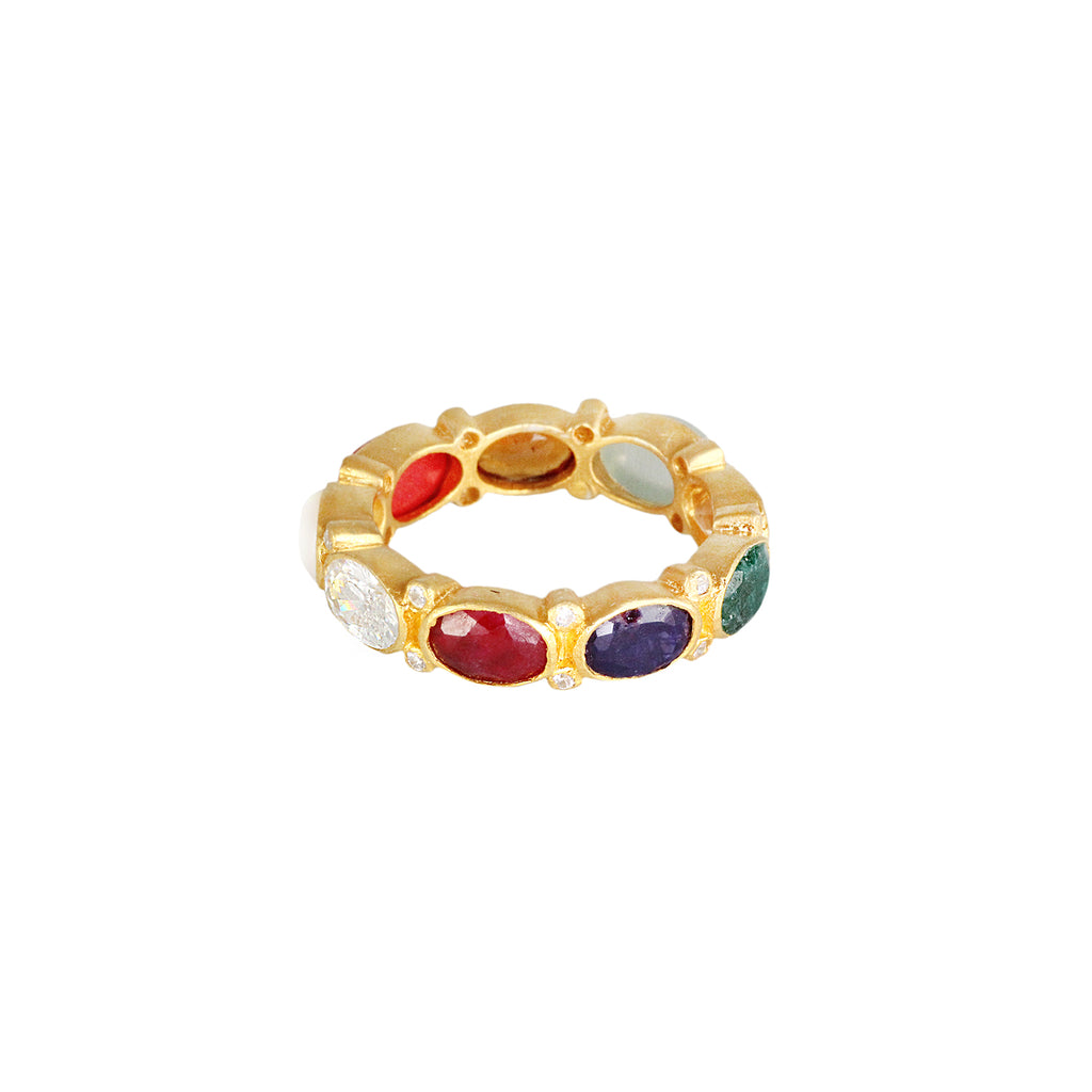 Sliver gold plated ring with white topaz, rubellite, kyanite, green onyx, citrine, moonstone, smokey topaz and coral, made in india