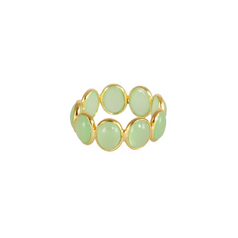 silver gold plated ring with chalcedonies stones