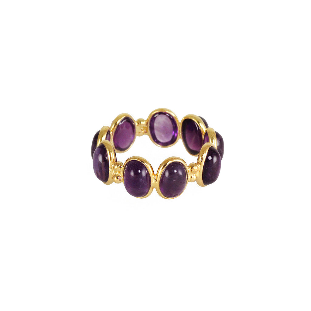 Sliver gold plated ring with oval shaped amethyst stones
