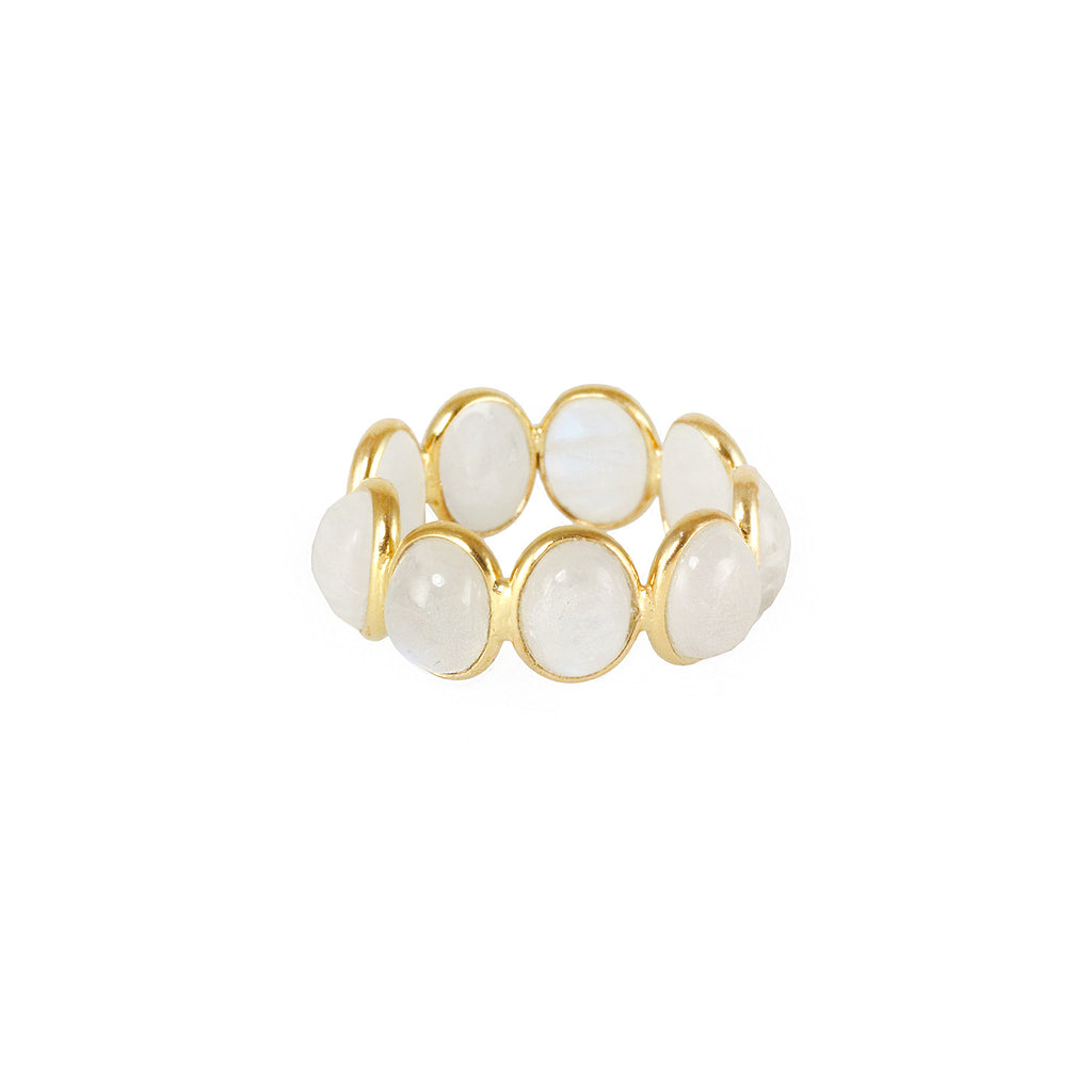 Silver gold plated ring with moonstones, made in India