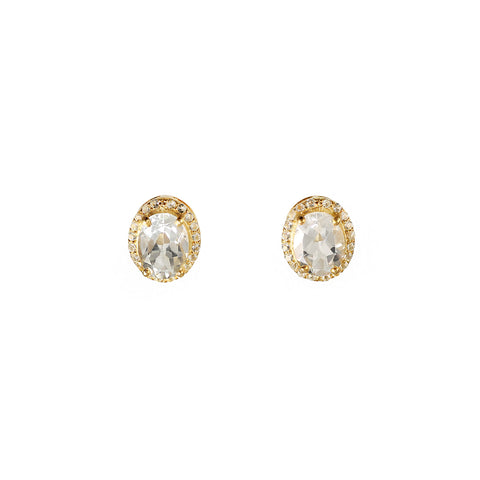 Sliver gold plated earrings studs with classic white topaz stones like diamonds